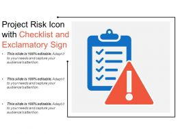 Project Risk Icon With Checklist And Exclamatory Sign