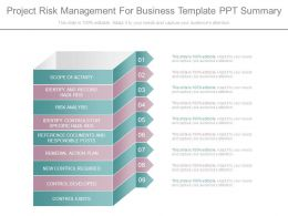 Project Risk Management For Business Template Ppt Summary