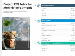 Project ROI Table For Monthly Investments