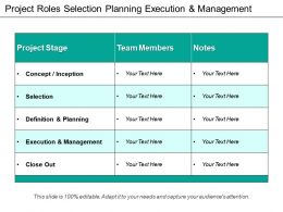 Project Roles Selection Planning Execution And Management