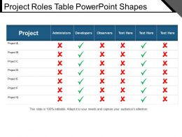 Project Roles Table Powerpoint Shapes