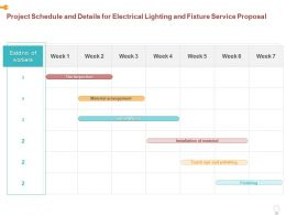 Project Schedule And Details For Electrical Lighting And Fixture Service Proposal