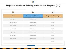 Project Schedule For Building Construction Proposal Ppt Powerpoint Presentation File Grid