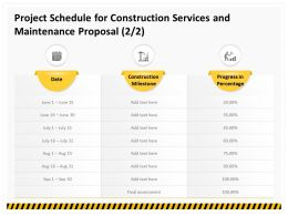 Project Schedule For Construction Services And Maintenance Proposal Ppt Topics