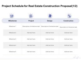 Project Schedule For Real Estate Construction Proposal Construction Ppt Powerpoint Download