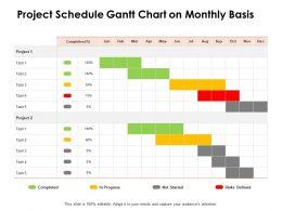 Project Schedule Gantt Chart On Monthly Basis Ppt Powerpoint Presentation Deck
