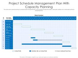 Project Schedule Management Plan With Capacity Planning