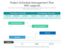 Project Schedule Management Plan With Legends