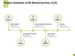 Project Schedule Of Av Rental Services Checklist Ppt Powerpoint Presentation Summary Elements