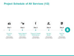 Project Schedule Of AV Services Management Ppt Powerpoint Presentation