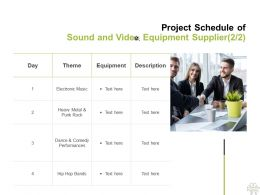 Project Schedule Of Sound And Video Equipment Supplier Planning Ppt Powerpoint Presentation Infographic