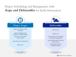 Project Scheduling And Management With Scope And Deliverables For Audit Automation