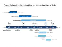 Project Scheduling Gantt Chart For Month Covering Lists Of Tasks