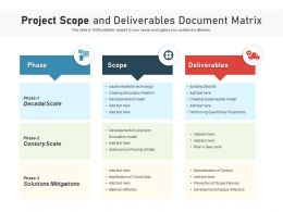 Project Scope And Deliverables Document Matrix