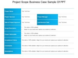 Project Scope Business Case Sample Of Ppt