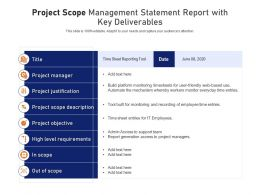 Project Scope Management Statement Report With Key Deliverables