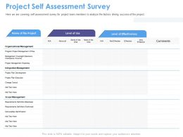 Project Self Assessment Survey Sponsors Ppt Powerpoint Presentation Portfolio Tips