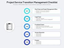 Project Service Transition Management Checklist