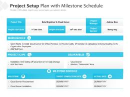 Project Setup Plan With Milestone Schedule