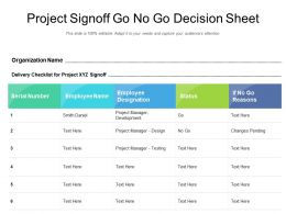 Project Signoff Go No Go Decision Sheet