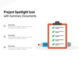 Project Spotlight Icon With Summary Documents