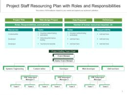 Project Staff Resourcing Plan With Roles And Responsibilities