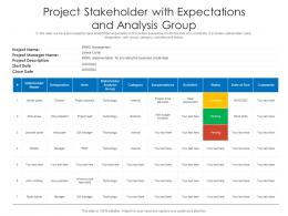 Project Stakeholder With Expectations And Analysis Group