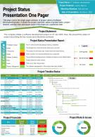 Project Status Presentation One Pager Presentation Report Infographic PPT PDF Document