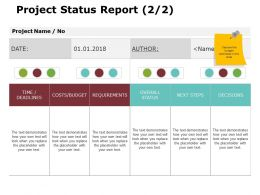 Project Status Report 2 2 Ppt Powerpoint Presentation Gallery Icons