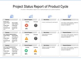 Project Status Report Of Product Cycle