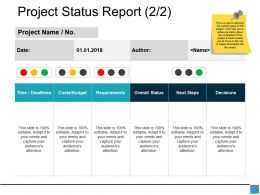 Project Status Report Powerpoint Slide Deck