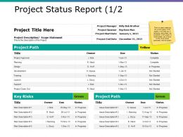 Project Status Report Ppt Sample Presentations