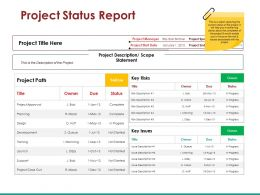 Project Status Report Presentation Visuals