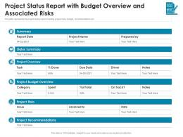 Project Status Report With Budget Overview And Associated Risks