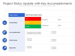 Project Status Update With Key Accomplishments