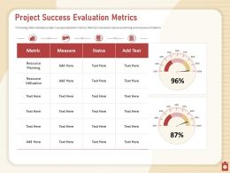 Project Success Evaluation Metrics Illustrates Utilization Powerpoint Presentation Skills