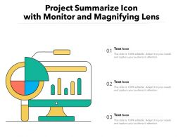 Project Summarize Icon With Monitor And Magnifying Lens