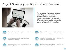 Project Summary For Brand Launch Proposal Ppt Powerpoint Presentation Ideas Design