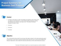 Project Summary For Business Cost Proposal Ppt Powerpoint Presentation Professional