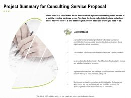 Project Summary For Consulting Service Proposal Ppt Powerpoint Presentation Slides Model