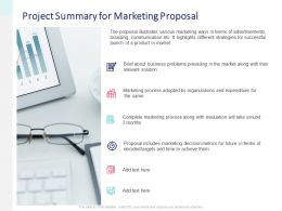 Project Summary For Marketing Proposal Goals Ppt Presentation Slides