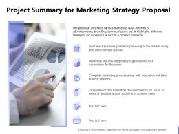 Project Summary For Marketing Strategy Proposal Ppt Powerpoint Presentation File