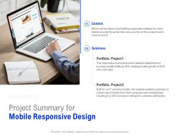 Project Summary For Mobile Responsive Design Ppt Powerpoint Presentation Icon