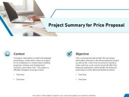Project Summary For Price Proposal Ppt Powerpoint Presentation Gallery Model