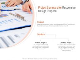 Project Summary For Responsive Design Proposal Ppt Powerpoint Portfolio
