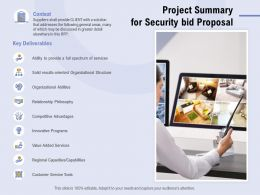 Project Summary For Security Bid Proposal Ppt Powerpoint Presentation Inspiration