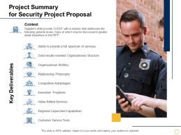 Project Summary For Security Project Proposal Ppt Powerpoint Presentation Model