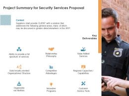 Project Summary For Security Services Proposal Ppt Powerpoint Presentation Model Themes
