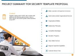 Project Summary For Security Template Proposal Ppt Powerpoint Presentation Model Graphics Template