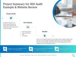 Project Summary For SEO Audit Example And Website Review Ppt Powerpoint Guideline